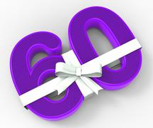 Number sixty with ribbon displays wishing happy birthday or congratulating Stock Illustration
