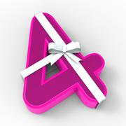 Number four with ribbon displays birthday party presents or congratulations Stock Illustration