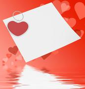 Stock Illustration of heart clip on note displays affection note or love message