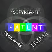 patent copyright license and trademark displays intellectual property - stock illustration