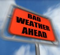 Bad weather ahead sign displays dangerous prediction Stock Illustration