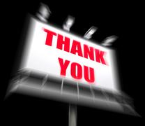 Thank you sign displays message of appreciation and gratefulness Stock Illustration