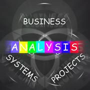 analysis displays analyzing business systems and projects - stock illustration