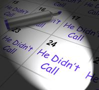 Stock Illustration of he didnt call calendar displays disappointment from love interest