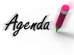 Agenda with pencil displays written agendas schedules or outlines Stock Illustration
