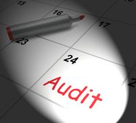 Audit calendar displays inspecting and verifying finances Stock Illustration