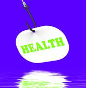 health on hook displays medical care or wellbeing - stock illustration