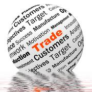Trade sphere definition displays stock trading or sharing Stock Illustration