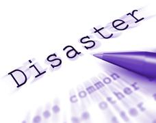 Disaster word displays emergency calamity and crisis Stock Illustration