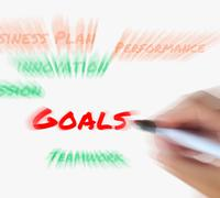 Stock Illustration of goals on whiteboard displays targets aims and objectives