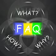 Faq on blackboard displays frequently asked questions or assistance Stock Illustration