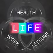 balance life displays health leisure and work - stock illustration