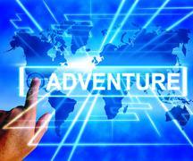 adventure map displays international or worldwide adventure and enthusiasm - stock illustration