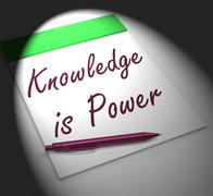 Stock Illustration of knowledge is power notebook displays successful intellect and mental strength