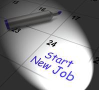 start new job calendar displays day one in position - stock illustration