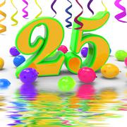 Number twenty five party displays creativity and colourful innovation Stock Illustration