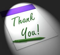 thank you! notebook displays acknowledgment or gratefulness - stock illustration