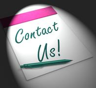 Contact us! notebook displays customer service and support Piirros