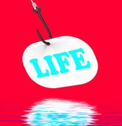 Stock Illustration of life on hook displays happy lifestyle or prosperity