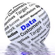 Stock Illustration of data sphere definition displays digital information or database