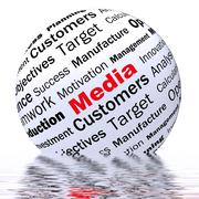 media sphere definition displays diffusion channels or online media - stock illustration