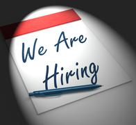 We are hiring notebook displays employment recruitment or personnel wanted Stock Illustration