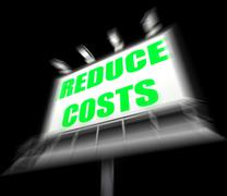 Reduce costs sign displays lessen prices and charges Stock Illustration