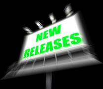 new releases sign displays now available or current product - stock illustration