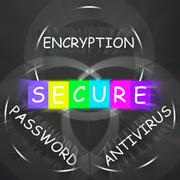 Antivirus encryption and password displays secure internet Stock Illustration