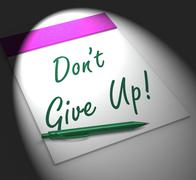 Stock Illustration of dont give up! notebook displays determination and success