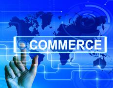 Stock Illustration of commerce map displays worldwide commercial and financial business