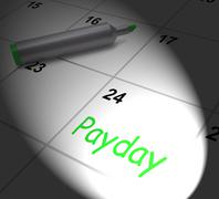 payday calendar displays salary or wages for employment - stock illustration