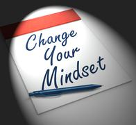 change your mind set notebook displays positivity or positive attitude - stock illustration