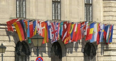 International national flags all countries nations world european union EU Stock Footage