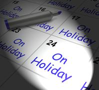 On holiday calendar displays annual leave or time off Stock Illustration