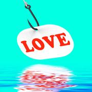 Love on hook displays romantic seduction or flirting Stock Illustration