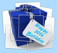 Happy 30th birthday gift displays age thirty Stock Illustration