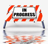 Stock Illustration of in progress sign displays ongoing or happening now
