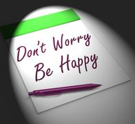 Dont worry be happy notebook displays relaxation and happiness Stock Illustration