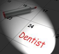 Dentist calendar displays oral health and dental appointment Stock Illustration