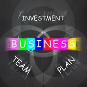 business requirements displays investments plans and teamwork - stock illustration