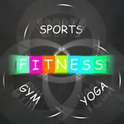 Fitness activities displays sports yoga and gym exercise Piirros