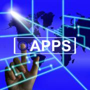 Apps screen represents international and worldwide applications Stock Illustration