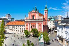 Preseren square, Ljubljana, capital of Slovenia. - stock photo