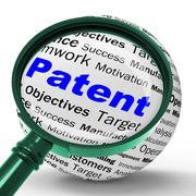 Patent magnifier definition shows protected invention or legal discovery Stock Illustration