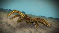 giant creepy spider b movie - stock footage