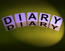 diary dice mean journal blog or autobiographical record - stock illustration