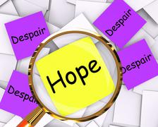 Hope despair post-it papers show longing and desperation Stock Illustration