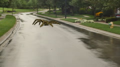 giant spider walking down road - stock footage