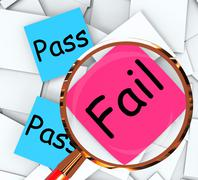 pass fail post-it papers mean satisfactory or declined - stock illustration